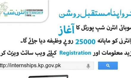 KPK Internship Program 2019 for One Year – Monthly Stipend 25,000 PKR