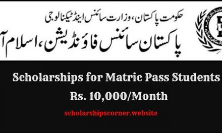 Pakistan Science Foundation Scholarship for SSC/Matric Passed Students