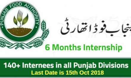 Punjab Food Authority Internship Program 2018  for 6 Months