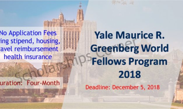 Yale Maurice R. Greenberg World Fellows Program 2019 in USA -Fully Funded