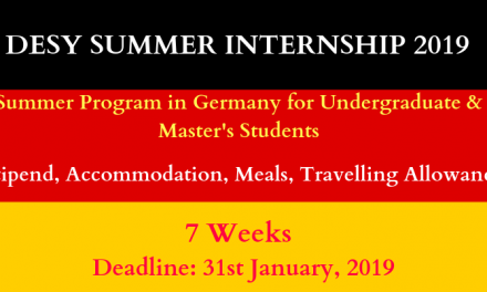 DESY Summer Internship 2019 in Germany for 7 Weeks – Apply Now