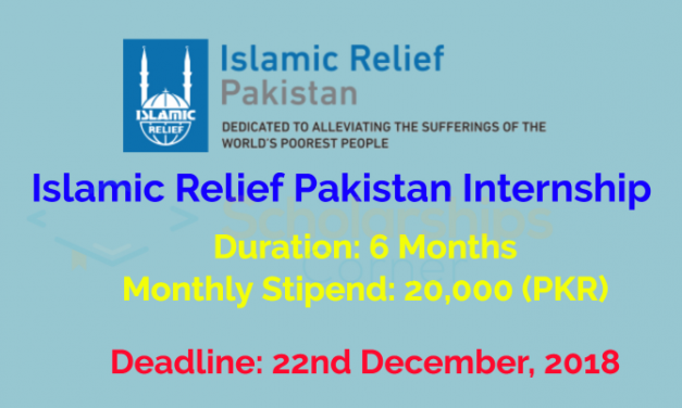 Islamic Relief Pakistan Internship 2019 – Monthly Stipend 20,000 (PKR)