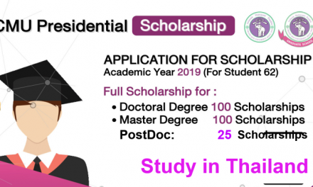 CMU Presidential Scholarship 2019 in Thailand [MS/PhD/PostDoc]