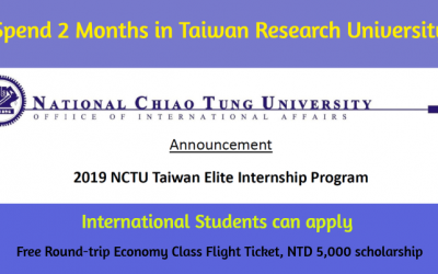 2019 NCTU Taiwan Elite Internship Program – Internship in Taiwan