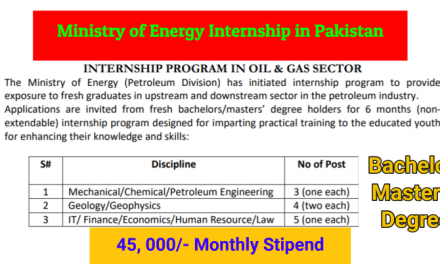 Ministry of Energy Internship in Pakistan – 45,000 Monthly Stipend