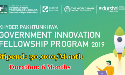 KP Fellowship Program 2019 By KP Government – Stipend: 30,000/month