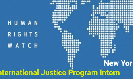 International Justice Program Internship 2019 in USA by Human Rights Watch