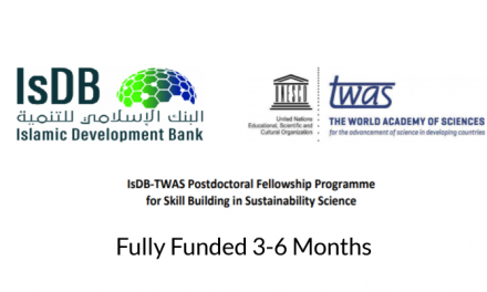 IsDB-TWAS Postdoctoral Fellowship Program 2019 – Fully Funded