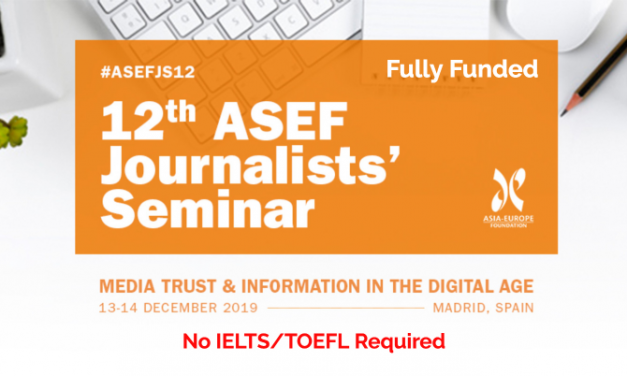 12th ASEF Journalists Seminar 2019 in Madrid, Spain [Fully Funded]