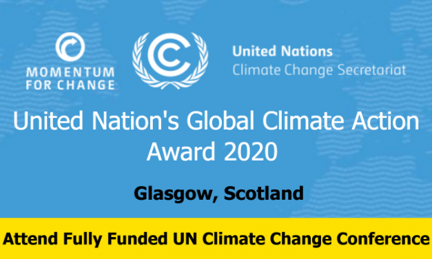 United Nation's Global Climate Action Award 2020 – Fully Funded Glasgow, Scotland