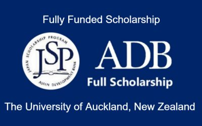 ADB-Japan Scholarship 2020 at The University of Auckland New Zealand – Fully Funded